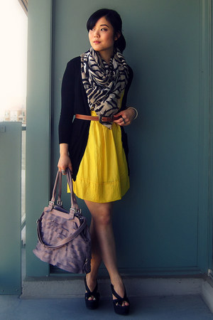 yellow dress - gray H&M scarf - light purple from mom bag - black Jeffrey Campbe