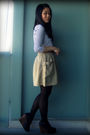 White-h-m-dress-beige-h-m-skirt-brown-h-m-belt-black-h-m-tights-black-je