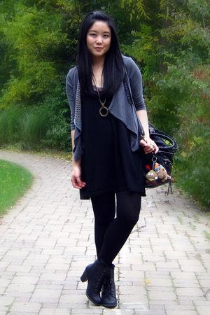 gray Urban Outfitters cardigan - black H&M dress - black HUE tights - black Spri