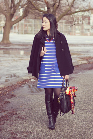 black knee-high Aldo boots - blue striped Gap dress