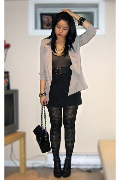 gray Urban Outfitters blazer - black American Apparel intimate - black Forever 2