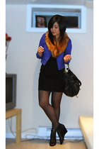 blue H&M jacket - orange H&M scarf - black American Apparel dress - black H&M st
