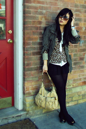 army green Forever 21 jacket - beige Cole Haan bag - black Costa Blanca shorts
