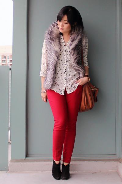 silver BB Dakota vest - black sam edelman boots - ruby red Old Navy jeans