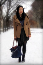 black Spring boots - camel Zara coat - navy longchamp bag - gray joe fresh style