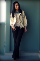 nude American Apparel jacket - white Forever 21 blouse - dark gray Gap pants - t