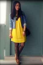 blue H&M jacket - gold winners dress - black Urban Outfitters bag - black Foreve