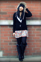 black Zara cardigan - ruby red Zara skirt - black Cougar Boots boots - ivory H&M