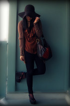 black Uniqlo jeans - dark brown H&M hat - dark brown Aldo bag - burnt orange H&M