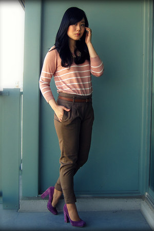 salmon H&M sweater - army green Zara pants - amethyst Nine West heels