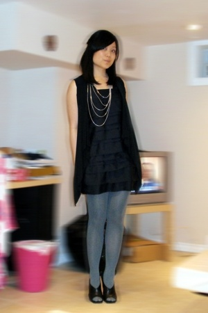 H&M dress - Urban Planet vest - asos tights - Aldo shoes - Forever21 necklace
