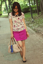 light pink floral print joe fresh style blouse - two-tone bag