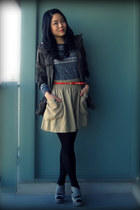 silver Aldo shoes - army green Forever 21 jacket - heather gray Zara sweater - d