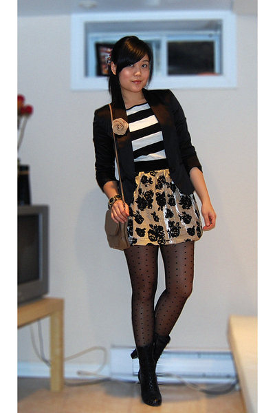 black Zara blazer - white Forever21 top - gold Forever21 skirt - black H&M tight