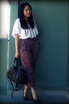 white H&M blouse - black Aldo shoes - black purse Urban Outfitters bag