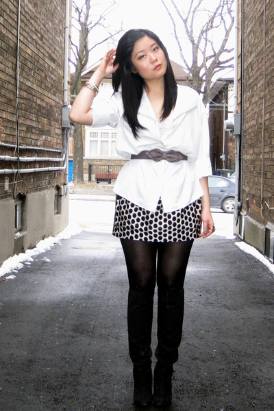 white blouse - white Forever 21 top - black Forever 21 skirt - black Nine West b