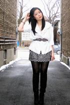 white blouse - white Forever 21 top - black Forever 21 skirt - black Nine West b