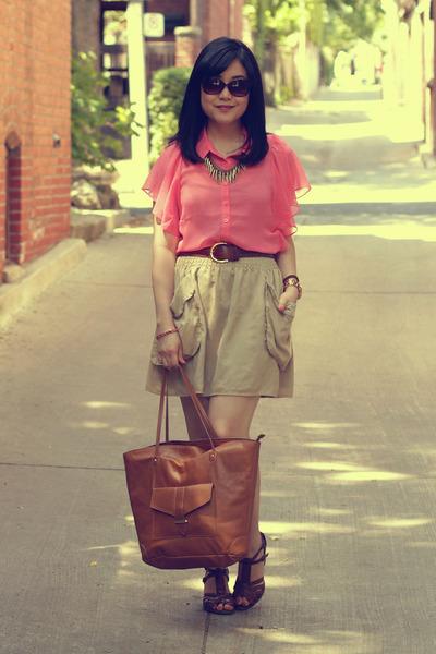 salmon Forever 21 blouse - brown H&M bag - camel H&M skirt