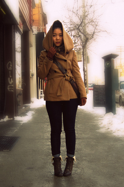 dark brown Spring boots - camel Zara coat - navy Uniqlo jeans