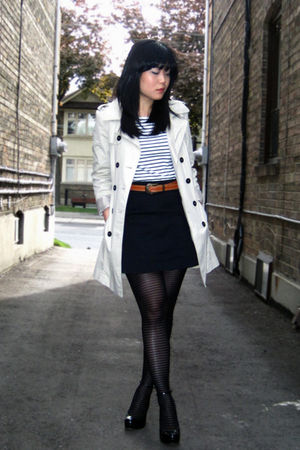 beige trench Zara coat - black Aldo shoes - white worn as top H&amp;M dress