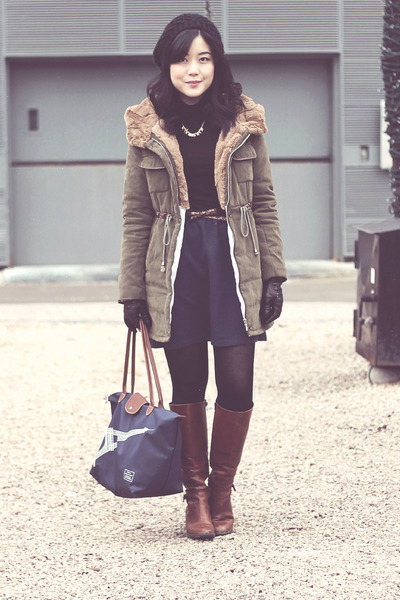 brown Aldo boots - black beanie Forever 21 hat - olive green PERSUNMALL jacket