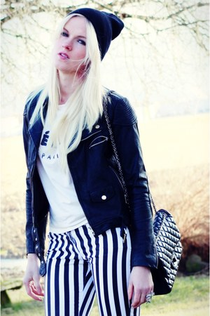 black leather jacket Bik Bok jacket - black striped Vila pants
