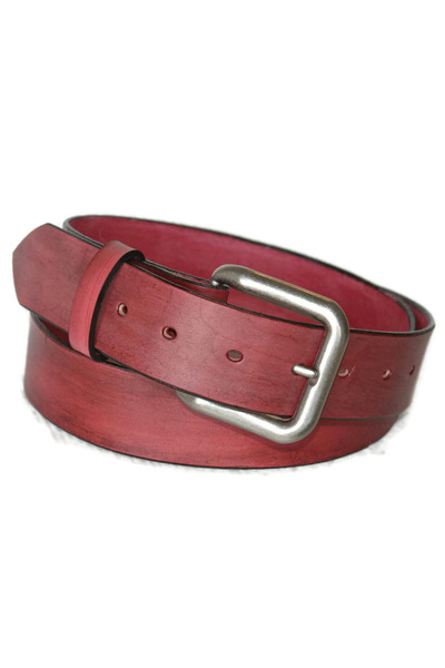 brick red leather Birdhouse Designs belt