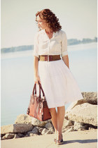 button-up JCrew blouse - leather Fossil bag - Anthropologie belt