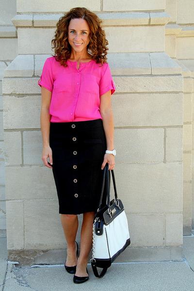 leather Chaps bag - silk Loft blouse - patent leather Steve Madden flats