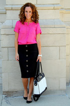 leather Chaps bag - silk Loft blouse - patent leather Steve Madden flats