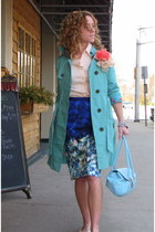 teal trench Lauren Conrad coat - leather Express bag