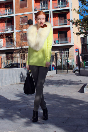 light yellow Lacoste top - black Giuseppe Zanotti boots - black Marni bag