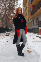 teal Sonia Rykiel sweater - black wellies Love Moschino boots
