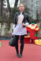 black Bruno Magli boots - black Pollini jacket - white By Malene Birger shirt