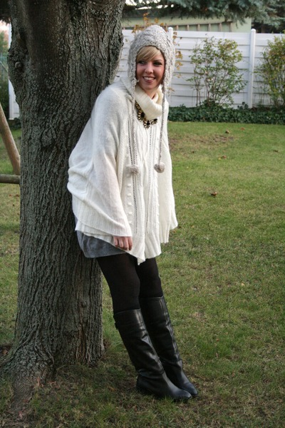 Zara boots - Accessorize hat - H&M cape - Forever 21 necklace