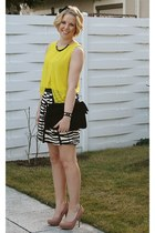 yellow Zara blouse - black Mango bag - white Vero Moda skirt