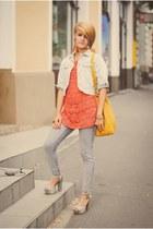 H&M jeans - jeans vintage jacket - faux leather H&M bag - knitted vintage blouse