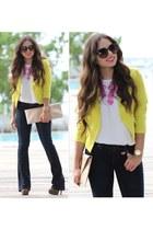 yellow romwe jacket - black Levis jeans - vanity gal sunglasses