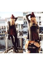 charcoal gray Sheinside cardigan - black Choies boots - crimson romwe skirt
