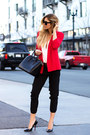 Red-french-connection-uk-blazer-black-givenchy-bag-black-celine-sunglasses