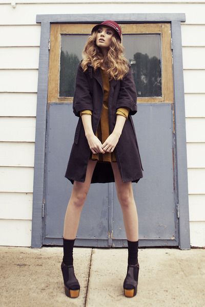 black thrifted coat - mustard Gypsy Junkies dress - crimson thrifted hat