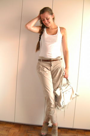 beige Zara pants - beige Zara shoes - white H&M top - white balenciaga bag