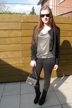 black H&amp;M jacket - silver Rue Blanche shirt - black H&amp;M pants - black new look s