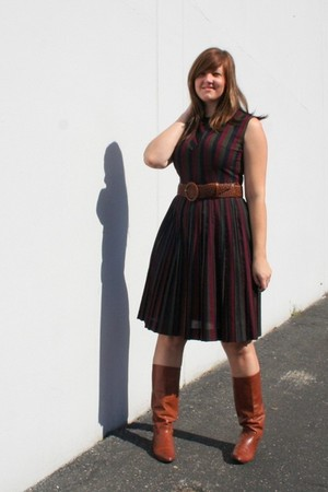 red Unknown vintage via eBay dress - brown Urban Renewal via Urban Outfitters bo