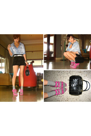 blue Zara blouse - black Topshop shorts - silver department store socks - pink T