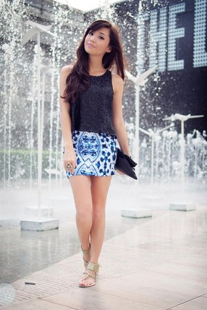 blue markethq skirt - black dresstronomy bag - black markethq top