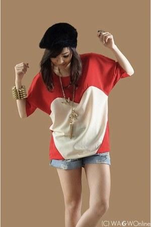 red WAGW top - black WAGW hat - sky blue WAGW shorts - gold WAGW accessories