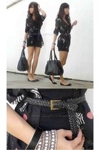 black WAGW top - black Topshop dress - black vintage bag - black Forever 21 belt