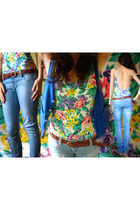 Capezio swimwear - blue Zara jeans - blue thrifted vest
