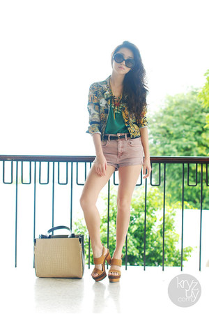 detail by details jacket - romwe bag - Topshop shorts - So FAB heels - WAGW top